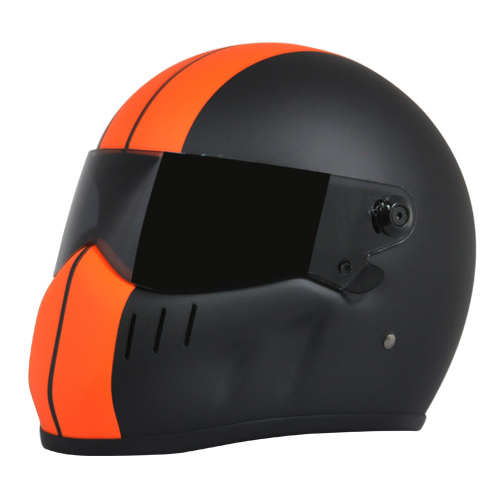 1:6th Scale Orange Motorcycle Helmet w//White Stripe /& Chain Strap